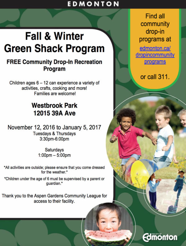 Fall & Winter Green Shack Program @ Westbrook Park