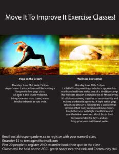 Move It To Improve It Exercise Classes Yoga @ AGCL Green space, community Hall